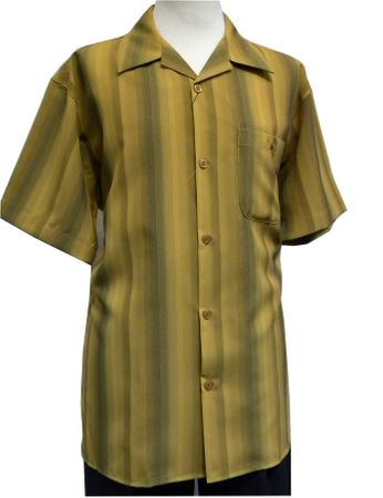 Pronti Mens Mustard Stripe Pattern Short Sleeve Casual Shirt 6149 Size L - click to enlarge
