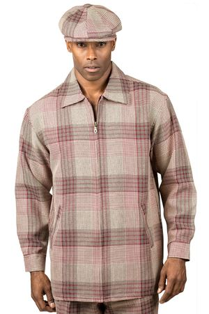Montique Mens Wine Plaid Leisure Suits JP27 Size 3XL/44