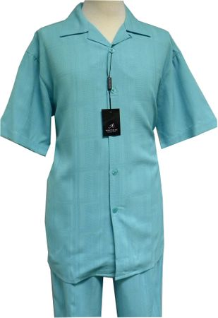 Montique Men's Aqua Texture Fabric Short Sleeve Walking Suits 627  - click to enlarge