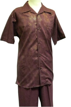 Pronti Mens Plum Dot Foil Short Sleeve Walking Suit 6160 Size XL/38