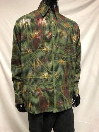Pronti Men's Olive Tiger Stripe Pattern Long Sleeve Shirt S6445 - click to enlarge