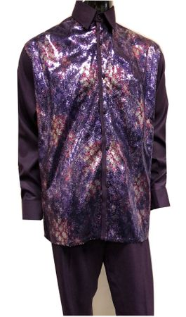 Pronti Mens Purple Sequin Shirt Long Sleeve Fashion Outfit 6345