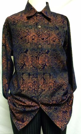 Pronti Mens Red Velvet Print Long Sleeve Casual Shirt 6152-1 Size M - click to enlarge
