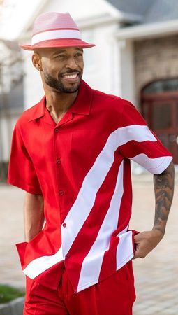 Montique Short Set Outfit for Men Red White Knee Length 72012