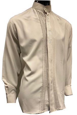 Pronti Mens Tan Mandarin Collar Long Sleeve Shirt Pleat Front 5343