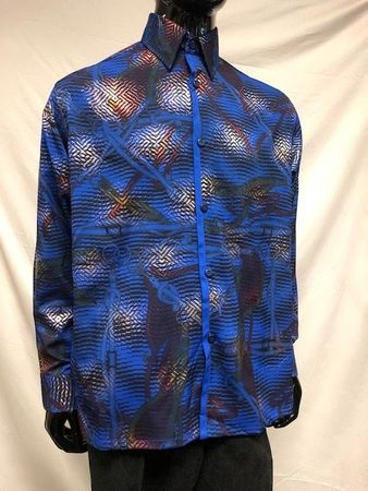 Pronti Men's Blue Tiger Stripe Pattern Long Sleeve Shirt S6445 - click to enlarge