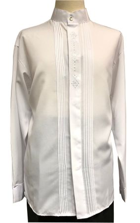 Pronti Mens White Mandarin Collar Long Sleeve Shirt Pleat Front 5343