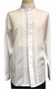 Pronti Mens White Mandarin Collar Long Sleeve Shirt Pleat Front