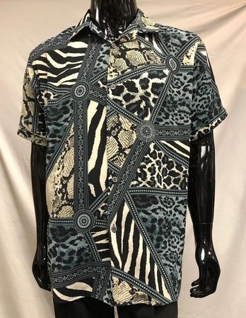 Men's Gray Leopard Print Short Sleeve Casual Shirt Pronti S6378 - click to enlarge