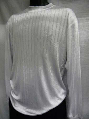 Pronti Mens White Shadow Stripe Long Sleeve Mock Neck Shirt 1239  - click to enlarge