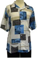 Gochu Men's Blue White Pattern Casual Short Sleeve Shirt 2007