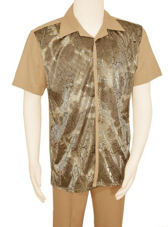 Pronti Party Outfit for Men Gold Metallic Front SP6393