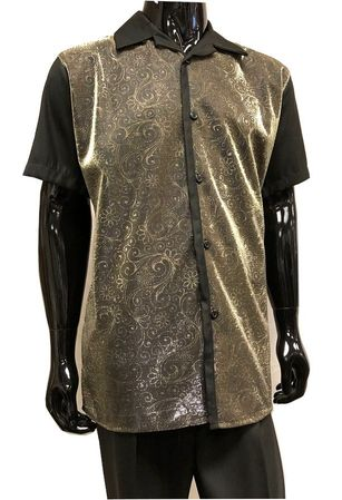 Pronti Party Outfit for Men Black Gold Metallic Front SP6394
