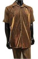 Pronti Party Outfit for Men Rust Brown Metallic Front SP6394