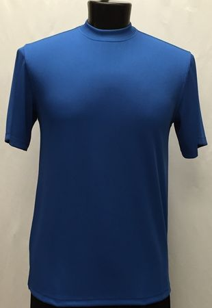Pronti Shiny Short Sleeve Mock Neck Royal Blue 1564 - click to enlarge