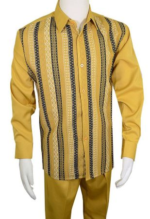 Pronti Walking Suit Men's Gold Woven Front Outfit SP6432