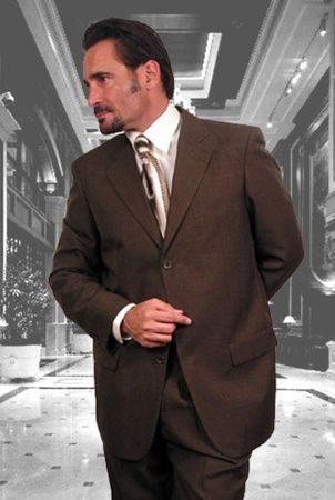 Men's Italian Wool Suits Brown 3 Button Super 150s Alberto 3BVP-1 2pc - click to enlarge