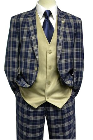 Falcone Mens Blue Khaki Plaid Vest 3 Piece Fashion Suit 5410-032 48L