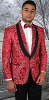 Statement Blazer For Men Red Tapestry Pattern Design LJ 100