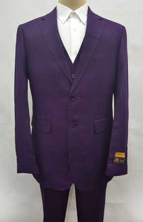 Purple Linen Suit Men's 3 Piece Alberto Linen-2BV
