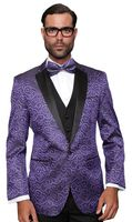 Purple Paisley Sequin Stage Performers Suit Paisley-200 3pc