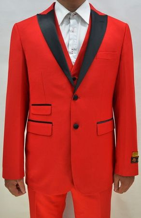 Red Color Tuxedo Mens 3 Piece Modern Fit Alberto Stage