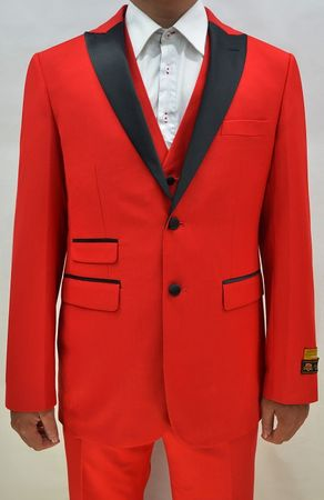 Red Color Tuxedo Mens 3 Piece Modern Fit Alberto Stage - click to enlarge