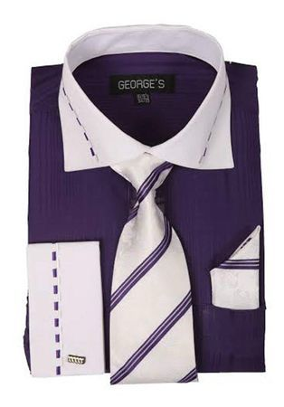Purple White Collar French Cuff Dress Shirt Tie Set AH621