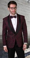 Statement Blazer For Men Black/Burgundy Paisley Design  LJ 102