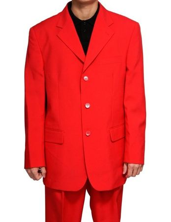 Milano Moda Red Suit For Men 3 Button Pleated Pants 802P