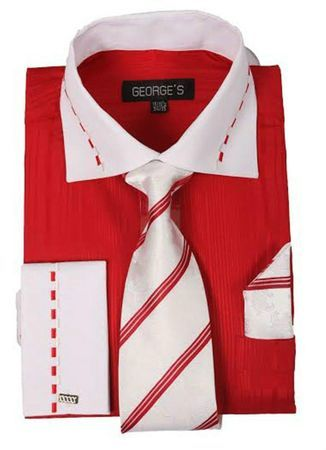 Red White Collar French Cuff Dress Shirt and Tie Set AH621