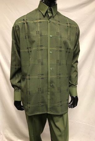 Pronti Men's Walking Suit Olive Plaid Foil Trim Menswear SP6505 - click to enlarge