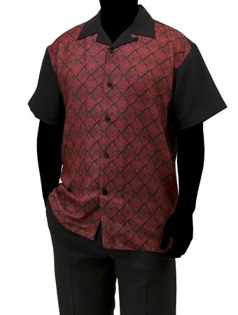 Robert Lewis Casual Walking Suit Mens Black Red Pattern Set WS756 - click to enlarge