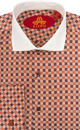 Robert Lewis Mens Orange Check French Cuff Dress Shirts RL224 Final Sale - click to enlarge
