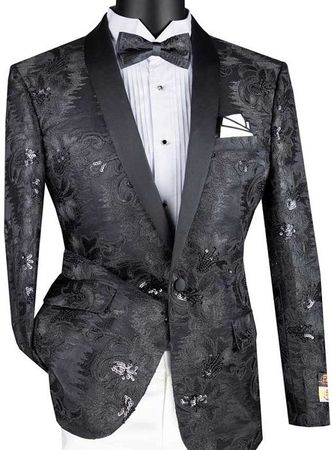 Mens Black Slim Fit Embroidered Prom Blazer Vinci BSF-13