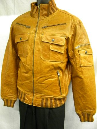 Mens Tan Slim Fit Leather Jacket High Collar Robert Phillipe MJ790 - click to enlarge