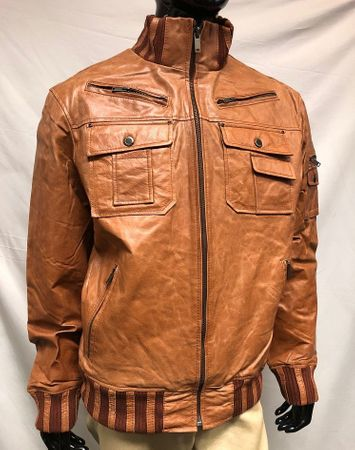 Mens Tan Slim Fit Leather Jacket High Collar Phillipe Size 2XL and 3XL - click to enlarge