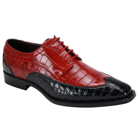 Men's Black Red Two Tone Wingtip Shoes Gator Print 6870 Size 10, 11