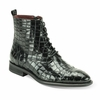 Giovanni Mens Black Gator Print Leather Dress Boots Corbin