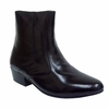 Ditalo Mens Black Smooth Leather Cuban Heel Boots 5632