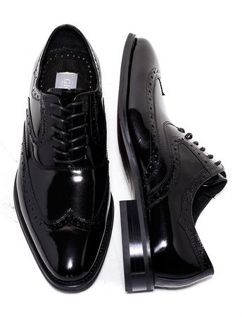 Giovanni Mens Black Polished Leather Wingtip Dress Shoes 6503 htm - click to enlarge