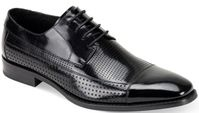 Giovanni Mens Black Perforated Leather Cap Toe Dress Shoes Diego