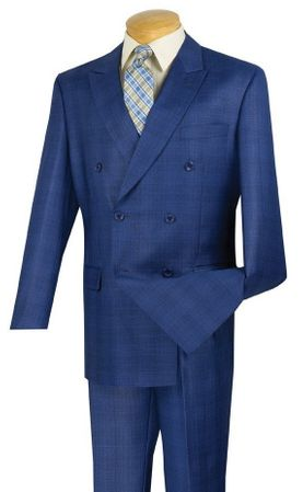 Royal Blue Plaid Double Breasted Suit Men Vinci DRW-1