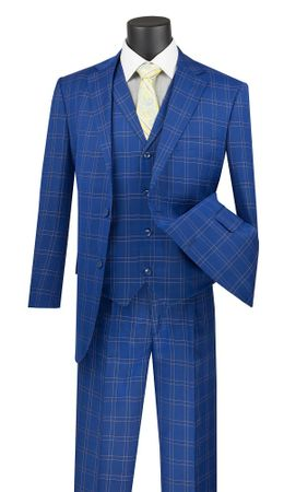 Royal Blue Plaid Suit 3 Piece Lapel Vest Vinci V2PD-1