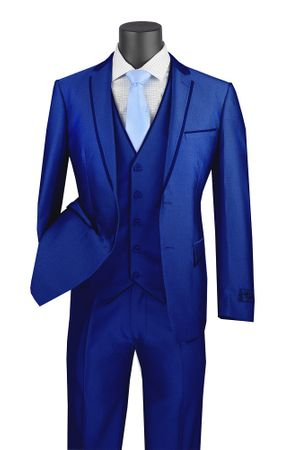 Royal Blue Skinny Fitted Prom Suit 3 Piece Fancy Trim USVD-2 - click to enlarge