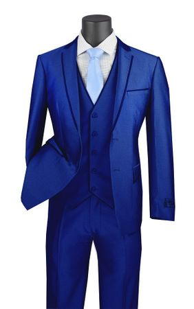 Royal Blue Skinny Fitted Prom Suit 3 Piece Fancy Trim USVD-2