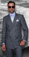 Mens Statement Fine Wool Charcoal Double Breasted Suits TZD-100 Size 54R Final Sale