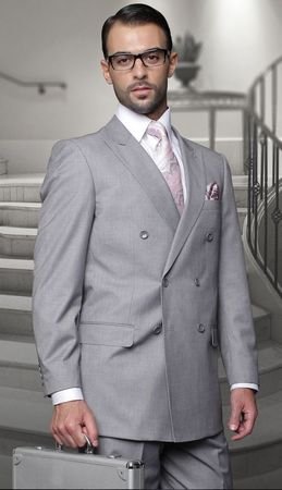Mens Statement 100% Wool Gray Double Breasted Suits TZD-100 Size 54L Final Sale - click to enlarge