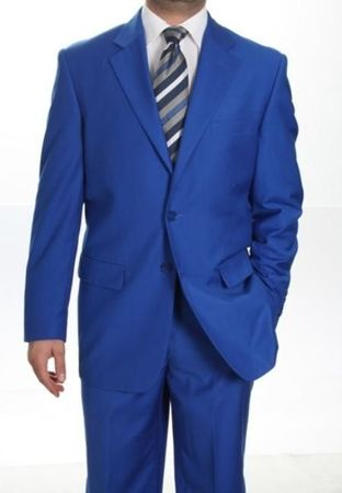 Royal Blue Suit by Milano 2 Button Mens Suit 702P - click to enlarge