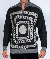 Royal Prestige Mens Black Chain Embroidered Sweater KTN-463